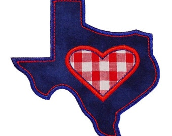 """Texas Range of Appliques Machine Embroidery Designs Applique Patterns in 4 sizes 3"""", 4"""", 5"""" and 6"""" Heart of Texas, Texas with Star and Texas"""