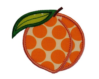 "Peach Appliques Machine Embroidery Designs Applique Pattern in 4 sizes 3"", 4"", 5"" and 6"""