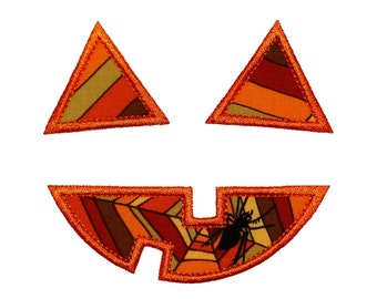 """Jackolantern Faces Machine Embroidery and Applique Design Patterns in Fill Stitch in 5 sizes 2"""" to 6"""" and Applique in 4 sizes 3"""" to 6"""""""