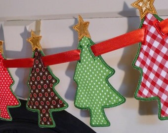 "Christmas Tree Banner In The Hoop Project Machine Embroidery Designs Applique Patterns all done In-The-Hoop in 5 sizes 5"", 6"", 7"", 8"" and 9"""