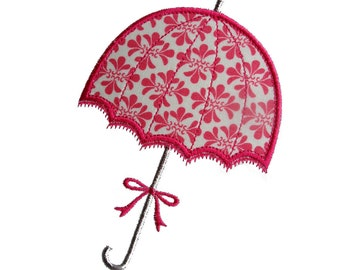 """Umbrella Appliques Machine Embroidery Designs Applique Patterns 2 variations in 5 sizes 3"""", 4"""", 5"""", 6"""" and 7"""""""