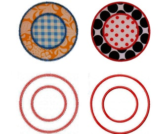 """Circle Frames Machine Embroidery Applique Design Pattern 2 variations in 5 sizes each 2"""", 3"""", 4"""", 5"""" and 6"""""""