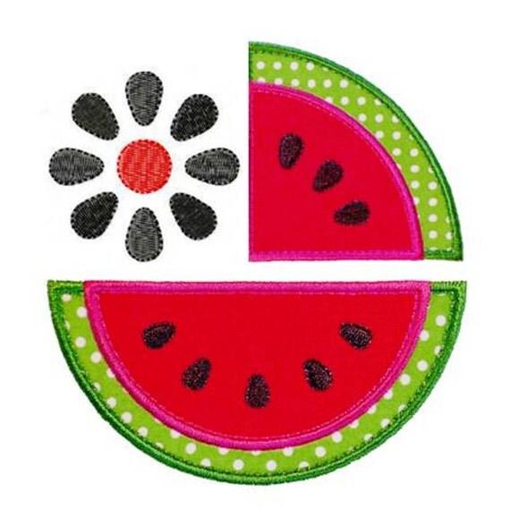 "Watermelon Range Appliques (with BONUS Watermelon Seed Flower design) Machine Embroidery Designs Applique Patterns 4 sizes 3"", 4"", 5"" and 6"""