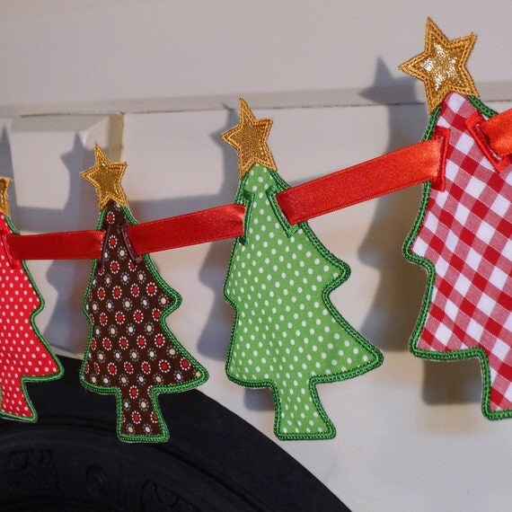 Christmas Tree Banner In The Hoop Project Machine Embroidery