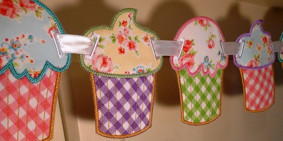 """Cupcake Banner In The Hoop Banner Machine Embroidery Design Applique Patterns all done In-The-Hoop 2 variations 5 sizes 4"""", 5"""", 6"""", 7"""", 8"""""""