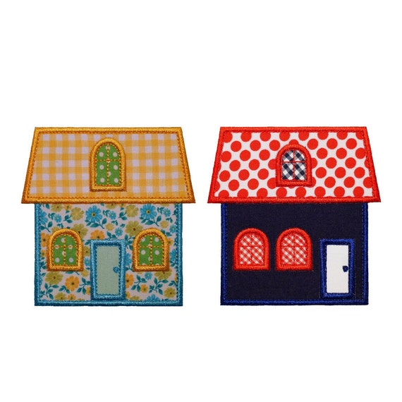 "Cottage and Townhouse Machine Embroidery Designs Applique Patterns 2 house variations in 3 sizes 4"", 5"", 6"""