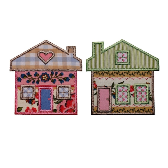 "Bungalow and Farmhouse Set of Machine Embroidery Designs Applique Patterns 2 house variations in 3 sizes 4"", 5"", 6"""