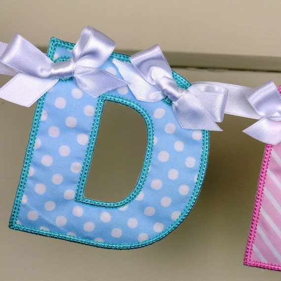 """Alphabet Banner ITH project Machine Embroidery Design Applique Pattern in 3 sizes 4"""", 5"""" and 6"""" all done in-the-hoop."""