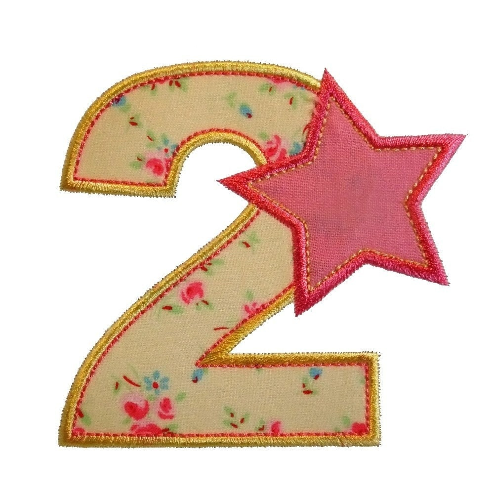 Starry numbers appliques machine embroidery designs