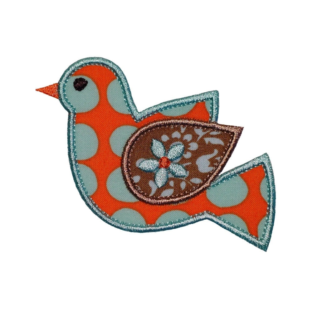 Sweet retro bird appliques machine embroidery designs applique