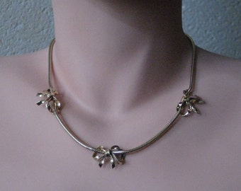 SALE Vintage 12K GF Necklace with 3 Bows