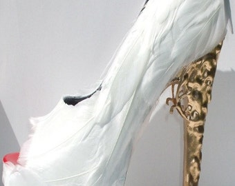 White Feather Pumps w/ Brocade Heel