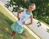 Girls T-shirt Dress with Initial and Ruffles