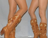 sz 5 70s 80s MISS CAPEZIO sexy cowgirl womens cowboy boots leather sole, stacked leather heel eagle inlay