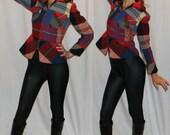 AMAZING 70s womens flannel SEXY peplum jacket high fashion grunge