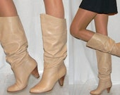 sz 6 6.5 80s slouch nude leather SEXY pull on boots