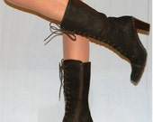 sz 7.5 9 80s 90s brown leather brown suede tall granny boots