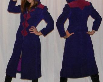 vintage leather coat 60s 70s sz small purple and majenta puff sleeve hooded princess coat MOD