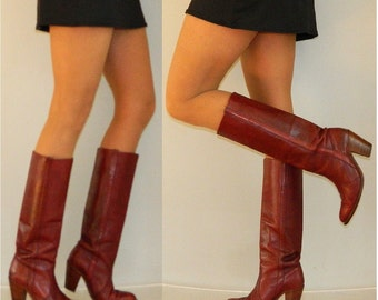 sz 8 70s FRYE campus riding SEXY tall boots oxblood leather