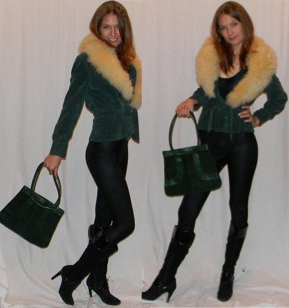 vintage 70s jacket leather suede fur collarsz S emerald green sheepskin fur collar SEXY jacket