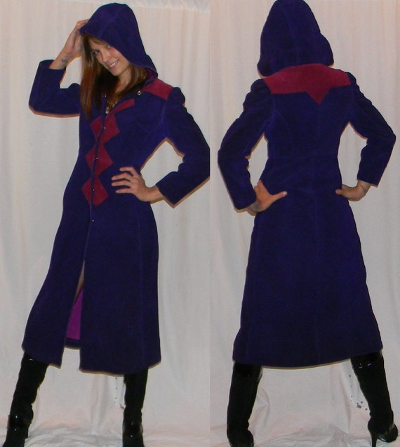 vintage leather coat 60s 70s sz small purple and majenta puff sleeve hooded princess coat MOD
