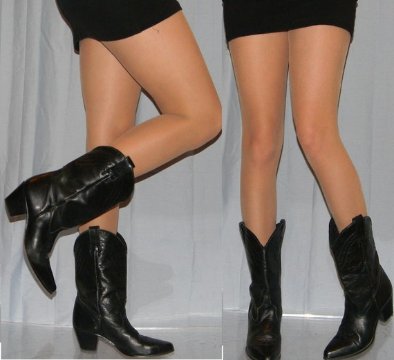 6.5 7 black crop sexy cowgirl boots