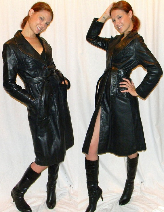 SEXY 70s black leather womens trench spy coat