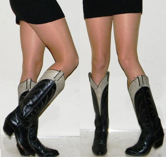 sz 5.5 6 TONY LAMA black grey leather TALL sexy womens cowboy cowgirl boots