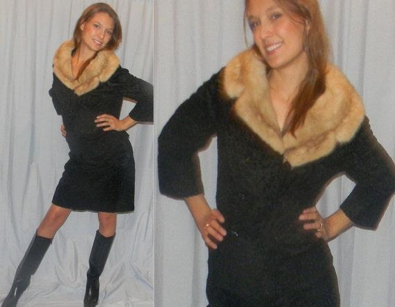 size 10 12 50s 60s black sheared persian lamb mink rockabilly jacket