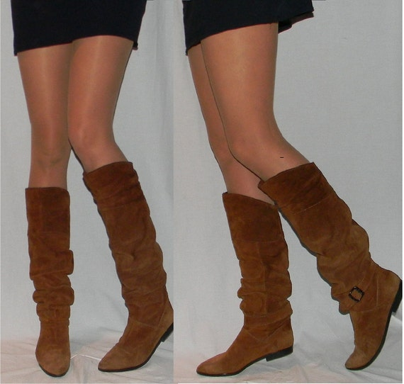 sz 8 80s brown suede TALL slouch pirate boots
