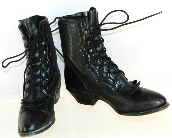 sz  8 womens kilted granny black leather pointy boots