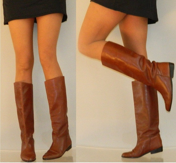 sz 8 80s Italian brown flat riding boots leather sole and lining