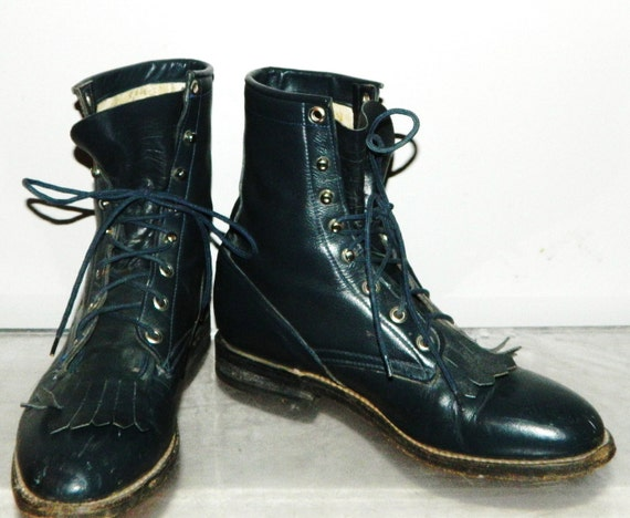 womens sz 10 80s teal green blue leather kilted lace up combat boots