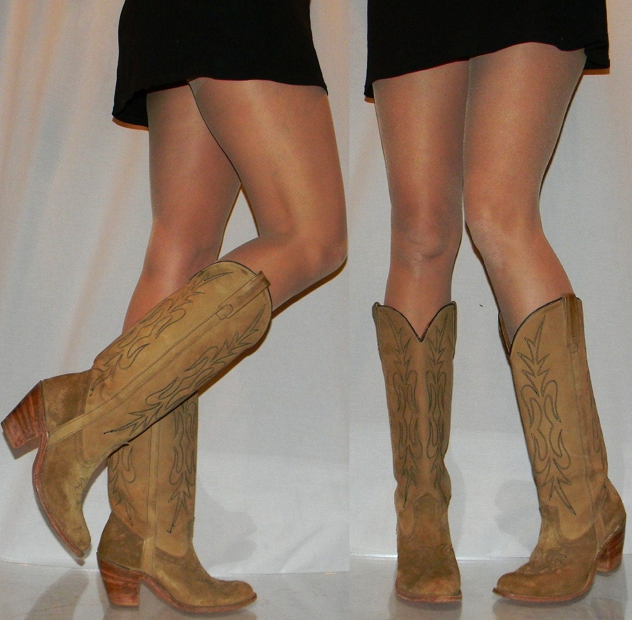 sz 8.5 9 MISS CAPEZIO tall SEXY cowgirl boots by thevintagevoice