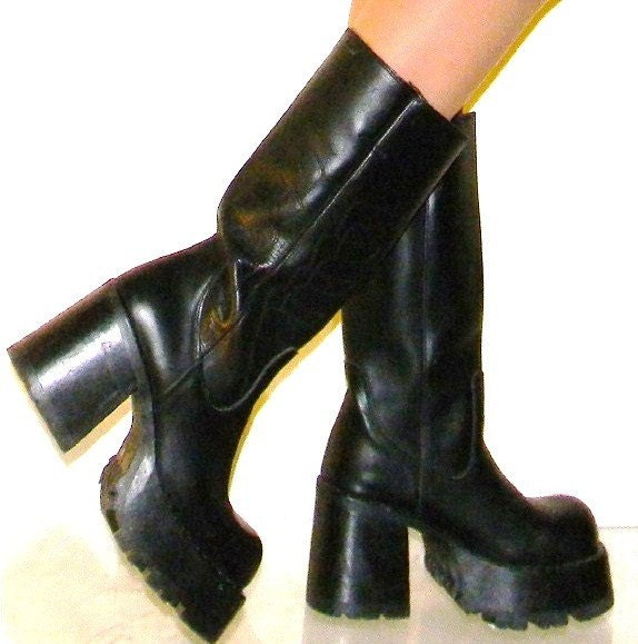 sz10 destroy 90s platform black leather boots grunge quality