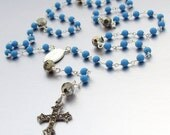 SALE 40% OFF - Sterling Silver Ceremonial Turquoise Catholic Rosary