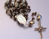 SALE 40% OFF - Sterling Silver Ceremonial Smokey Quartz Catholic Rosary