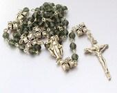 SALE 40% OFF - Sterling Silver Swarovski Crystal Catholic Rosary
