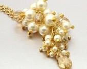SALE 40% OFF - 14kt GF Swarovski Crystal and Pearl Cluster Drop Necklace