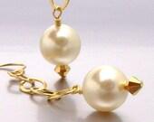 SALE 40% OFF - 14kt GF Swarovski Pearl Drop Earrings