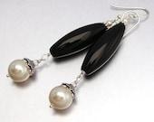 SALE 40% OFF - Sterling Silver Onyx & Swarovski Pearl LONG Drop Earrings