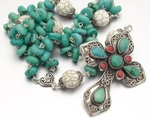 SALE 40% OFF - Sterling Silver Turquoise Catholic Rosary