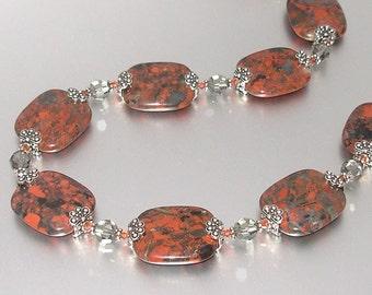 Jasper and Swarovski Crystal Necklace