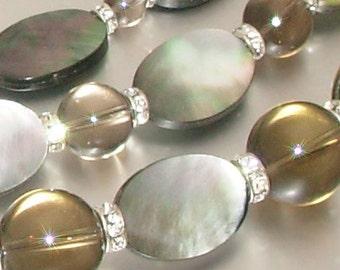 Mother of Pearl & Smokey Quartz 3-Strand Necklace