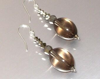 Sterling Silver Smokey Quartz & Swarovski Crystal Drop Earrings