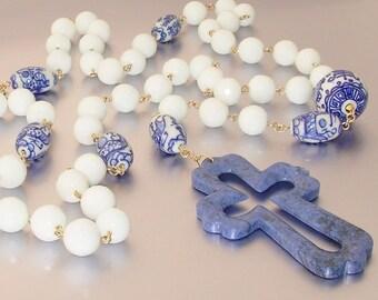 14kt GF White Agate and Porcelain Catholic Rosary
