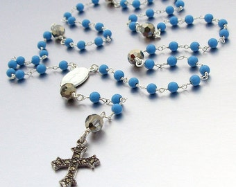 Sterling Silver Ceremonial Turquoise Catholic Rosary