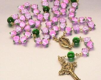 Ceramic Roses Catholic Rosary