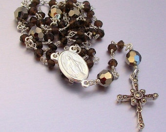 Sterling Silver Ceremonial Smokey Quartz Catholic Rosary