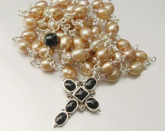 Sterling Silver Freshwater Pearl and Onyx Catholic Rosary